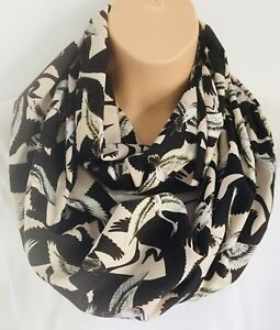 Beatiful Bird Print Touch Of Shimmer Print Circle Loop Infinity Scarf Snood