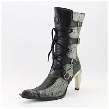 New Rock Stiefel Gr. 41 Malicia Stiefeletten schwarz/grau/blau  (#2625)