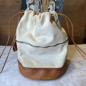Vintage 90's J. Crew Beige Canvas And Tan Cognac Leather Drawstring Bucket Bag
