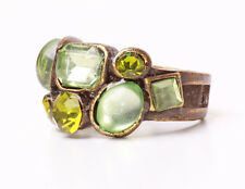 GLAMOROUS SPARKLY METAL STATEMENT RING GREEN STONES & RHINESTONES (ZX27/36)