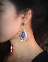 Earrings Nails Ethnic Drop Blue Boheme Vintage Art Deco Class