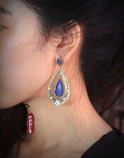 Ohrringe Stecker ethnisch Tropf blau bohème Vintage Art Deco Class