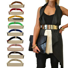 Women's Waist Band Elastic Metal Waist Belt Gold Plate Wide Belt