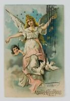 Postcard Merry Christmas Angel Doves 1905