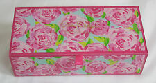 0a92ffa73aaf6b Lilly Pulitzer Glass Storage Box First Impression Pink Floral Green Blue  RARE