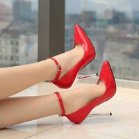 Large High Heels Big Stiletto Crossdresser Drag Queen Gold Red Ankle Strap Shoes