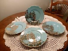 222 FIFTH GARDEN PLAYTIME TURQUOISE GOLD BUNNY CHINA SALAD PLATES 4 PIECE SET