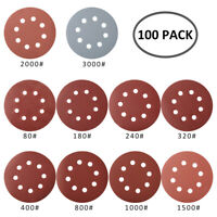 100pc 125mm Sanding Discs Self Adhesive Pads 80-3000 Mixed Grit Orbital Sander