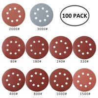 100x disques de ponçage 125mm auto-adhésives Ponceuse orbitale à grains 80-3000