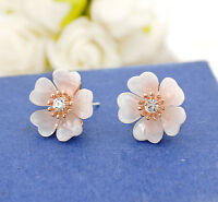 Women's 925 Sterling Silver Elegant Crystal Plum Flower Ear Stud Daisy Earrings
