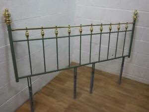 BRASS & METAL DOUBLE BED POST / HEADBOARD PAINTED PART GREEN.