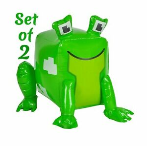 """(Set Of 2) 20"""" Green Pixel Frog Animal Inflatable Blow Up Toy Party Decoration"""