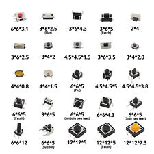 25 Values Tactile Push Button Micro Switch Assortment For Car Remote Control Key