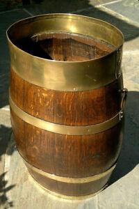 "Antique English Oak Coopered Barrel Stick Stand Umbrella Hall Stand 20""Tall"