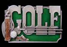 GOLF WITH CLUBS/BALL/BAG PEWTER BELT BUCKLE NEW NICE!