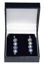 Drop Earrings Light Blue Faux Pearl and Clear Crystal with Silver Plated Earwire