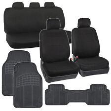 Black Full Set Car Seat Covers Premium Double Stitching & 3pc Rubber Auto Mats