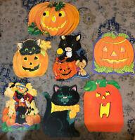 Vtg Lot Of 7 Halloween Diecuts Cutouts decor mixed Kittens Pumpkins Scarecrow +