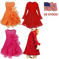 US Kids Baby Flower Girl Dress Princess Party Wedding Birthday Communion Formal