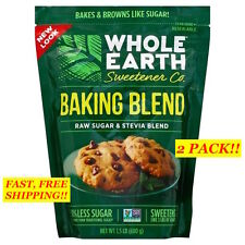2 PACK! WHOLE EARTH SWEETENER CO. Baking Blend ~ RAW SUGAR & STEVIA, 1.5 LB EACH