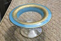 "Vintage Pressed Glass Blue Footed Bowl, gold trim 6.5"""
