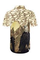 NEW Men Sublimation Butto Down Shirt Eagle Wester Desert Sizes S-XL Beige Khaki