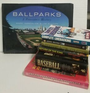 Lot of 7 mixed sports books 5 Hardcover Books, 2 paperbacks