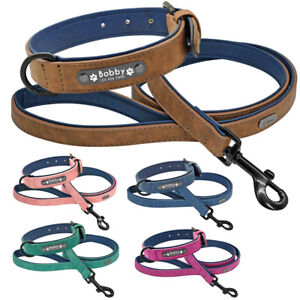 Personalised Leather Dog Collar Lead Custom Soft Padded 5 Colours S M L XL XXL