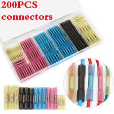200Pcs Heat Shrink Butt Electrical Wire Cable Crimp Terminal Connector Kit Lots