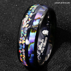8/6mm Black Tungsten Ring Hawaiian Opal and Abalone Inlay Men ATOP Wedding Band