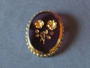 Vintage Gold-Tone Metal Brown & Gilt Glass Flower Intaglio Pin Brooch