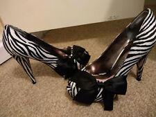 Paris Hilton Zebra Print Satin Bow High Heels Black White Size 6.5 Peep Toe