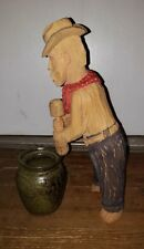 Primitive Folk Art Wood Carving Cowboy Signed Hand Carved Vintage
