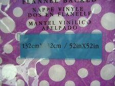 NEW PURPLE WHITE SPOTTY FLANNEL BACK VINYL TABLECLOTH SQUARE OBLONG ROUND UBL