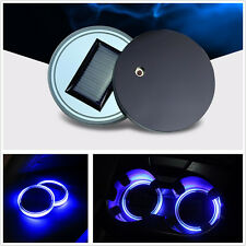 2 PCS Solar BLUE LED Light Cup Holder Bottom Pad  Cover Trim Atmosphere Lamp