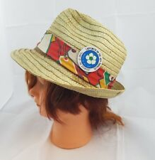 Trilby Vintage Straw Hat Small 6 7/8 Banded Fedora Crease Brim 1981 Button Unisx