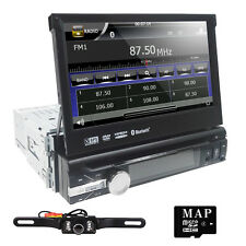 "Car Stereo DVD CD Player 7"" Flip Up Stylish UI GPS SD Radio Single DIN BT+Camera"