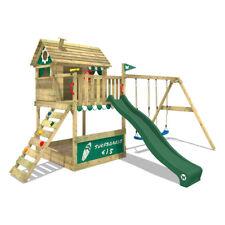 WICKEY Spielhaus Spielturm Stelzenhaus Smart Seaside - Schaukel & grüne Rutsche
