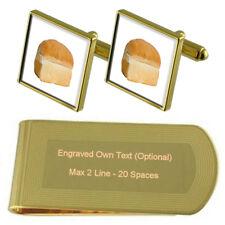 Baker Loaf Bread Gold-Tone Cufflinks Money Clip Engraved Gift Set