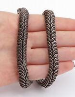 925 Sterling Silver - Vintage Dark Tone Spiral Swirl Link Chain Necklace - N3609