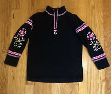 Hanna Andersson Girls Black Embroidered Pullover 1/4 Zip Sweater - 110 US 5