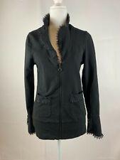 Effies Heart Women's Sweater Lace Zipper Heart Long Sleeve Black Size Small