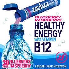 ZipFizz Blueberry Raspberry Healthy Energy Drink Mix w/ Vitamin B12 30 Tubes