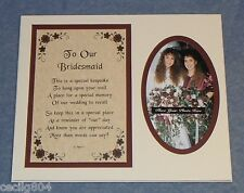 """WEDDING KEEPSAKE """"TO OUR BRIDESMAID""""  PHOTO INSERT GIFT FOR LOVED ONES"""