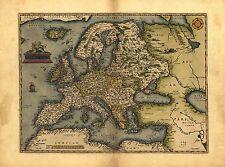 NUEVO Europa Evropae Antigüedad Mapa Abraham Ortelius Reproducción Antiguo