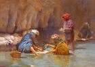 """Beautiful Oil painting portraits Arab people washing by the river on canvas 36"""""""