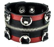 Red & Black D Rings w/ Zipper Leather Wristband Cuff Goth Punk Metal Alternative