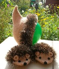 Hand Knit Light Brown Hedgehogs Set Thumbless Mittens Hat Children Warm