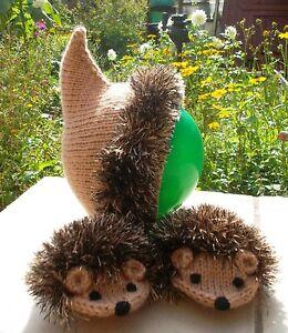 Hand Knit Light Brown Hedgehogs Set Thumbless Mittens Hat Children Warm