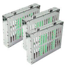 3PCS Dental Autoclave Sterilization Cassette Tray Racks 10 Instrument Green